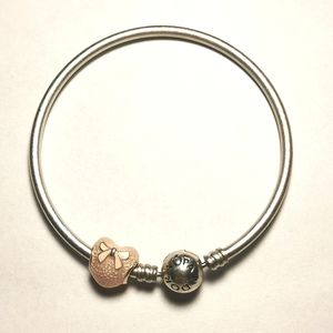 Pandora Pink Bow Lace and Heart Charm